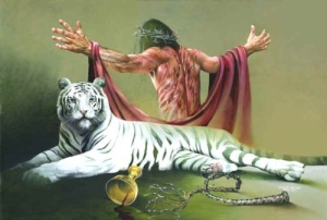 Seriously what does a white tiger have to do with Jesus' suffering other than the fact the artist thought it was too awesome to leave out?