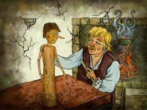 Geppetto creating Pinocchio.
