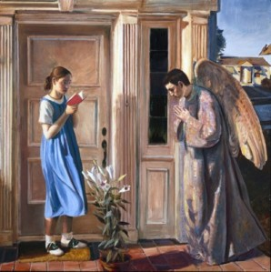 I know the girl in blue is supposed to be the Virgin Mother dressed as her favorite Disney princess but she looks like such a kid in this it's not even funny. In fact, it's kind of creepy. The Angel Gabriel praying kind of irks me, too. I think the Annunciation should be depicted in its own time or with an older Mary for God's sake.