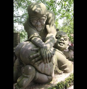 Is it just me or does this statue seem to depict something very, very dirty? If so, then I suggest you don't get this if you live in a neighborhood with children. Else their parents would get very angry with you.