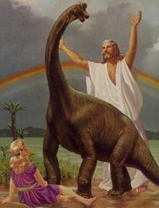 Now Jesus with a dinosaur is ridiculous enough. Jesus with a dinosaur, rainbow, and a young blond girl just takes tackiness to a whole other level. Looks like Jesus is so excited to finally see a dino after working on his new time machine or something.