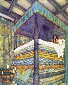 Pea under a bunch of mattresses, girl still can't sleep.