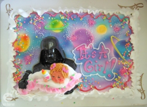 Either this, or that the expectant mother's friends are trying to tell her that she needs a divorce and that her husband would make a terrible dad. That, or just that she may really be into Star Wars for some reason. Seriously, Darth Vader on a baby shower cake? You know this is a guy who cut off his son's hand and blew up his daughter's planet.