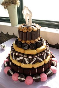 """This is probably a way of saying """"we spent all our money before we could think of a wedding cake so help yourself to some Hostess snack foods as our honored guests."""""""