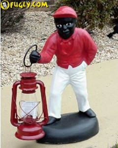 When it comes to racist lawn ornaments, none comes in greater notoriety than the infamous lawn jockey ornament. Again, sorry NAACP, but in a post of utterly tacky lawn ornaments, there's no way I couldn't avoid posting this.