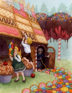 Hansel and Gretel eating the witch's candy gingerbread house. Of course, the witch doesn't mind but for different reasons.