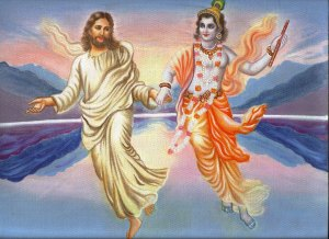Of course, Jesus and Krishna are both said to be human incarnations of God or a god. Yet, outside India (where Krishna is a major icon in Hinduism), this picture would kind of border on blasphemy because of the whole one god rule in Christianity.