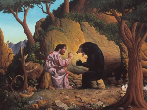 Uh, Jesus, you might want to run away because it has cubs in the background. Trying to make peace with a mama bear is never a good idea, honest to God I'm not kidding.