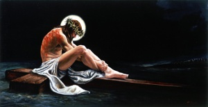 """For some reason, I can't help looking at this and  not expect Jesus about to break into some Flashdance routine after he says his prayers. Also, where are his """"stigmata"""" marks for his hands and feet seem totally bare."""