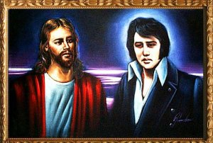 "For some reason Elvis Presley doesn't seem thrilled meeting Jesus despite that he was a staunch Christian all his life and didn't like people calling him ""King"" to his face for this reason. Probably is due to the fact Elvis was disappointed about the buffet up in Heaven."