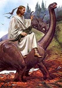 Yes, this picture is as ridiculous as it sounds since Jesus is depicted in a prehistoric setting, let alone before the New Testament.