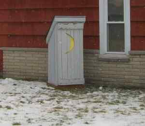 Now using an outhouse as a lawn decoration isn't going to make your lawn more aesthetically pleasing. Especially if it has a moon on the door.
