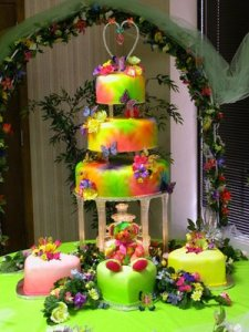 Is it just me, or does this cake seem to have been made by Lisa Frank on an acid trip or something?
