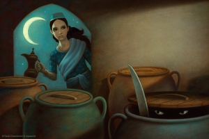 Morgiana uses boiling oil on in the jugs hiding the thieves. Poor thieves.