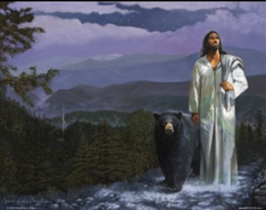 """As my Father in Heaven proclaimed, only you can prevent forest fires."" And then the bear made out with Jesus's food sack."