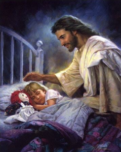 For some reason, I find this rather creepy, especially reading Jesus' expression and his trying to touch the child's head.