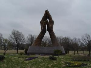This freakish statue stands in front of Oral Roberts University. Nevertheless, despite it being a religious artwork, Christian piety didn't seem to be what I had in mind upon seeing this.