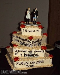 However, the cake topper with the bride wearing the pants bit is kind of a bit sexist if you ask me. Also, the writing seems to be melting.