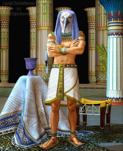 The Ibis headed Thoth is a god that wears many hats as well as credited with inventing writing and most areas of knowledge. Plays a roles in a lot of myths as a mediator between good and evil.
