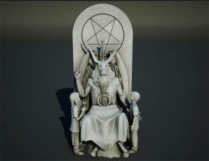 This is a Satanic monument for the Oklahoma State Capitol. Now I know that real Satanist are nothing like how they're depicted in Hollywood. Yet, I don't think presenting Lucifer with a goat head and seated like a mall Santa is helping their case.