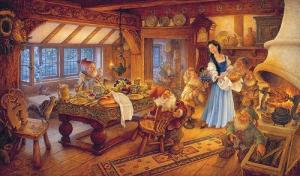 Snow White doing housework for the seven dwarfs.
