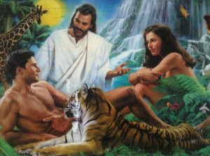 "I don't know about you but I know that just because Christianity says, ""Jesus is God"" doesn't mean that Jesus should be in this  because he's ""the Son"" and that incarnation of the Holy Trinity doesn't show up until the New Testament. Adam and Eve are in Genesis and thus, in the Old Testament. Portraying God as the old man in the sky would've been more appropriate. Also, I'm sure that Adam and Eve aren't just gazing at each other in wonder and tenderness."