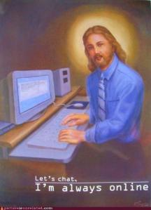 "However, despite the image, those who wish to chat with Jesus on the internet would be sorely disappointed because Jesus didn't mean ""online"" at a digital standpoint. Still, despite his hairstyle not conforming to office regulations, he sure knows how to dress for work."