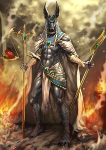 Anubis is the jackal headed god of mummification, judge of souls, and lesser god of the dead as well as the more recognizable of the Egyptian gods. Contrary to many depictions, isn't an evil guy but is certainly cool if you know what I mean. Yet, he's now a sex symbol among the furries for some reason.