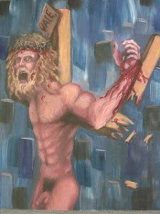 """Where's my clothes?"" Man, Jesus may be crucified, but he can sure grow into the Incredible Hulk when he wants to. Also, exposed genitalia might be offensive to many Christians just a little FYI."