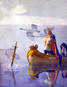 Sir Bedivere returning Excalibur to the Lady of the Lake. Though a prominent figure in the early Arthurian Mythos, this is what he's most remembered for. Well, that and trying women for witchcraft by weighing them against ducks.