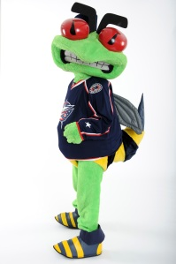 Let's see, he's not cute, he's not furry, and he's not very pleasant. In fact, he seems like he's getting ready to sting those mangy kids who won't get off his lawn. Let's just see a giant angry insect mascot is perhaps the last thing you want to see at a hockey game.
