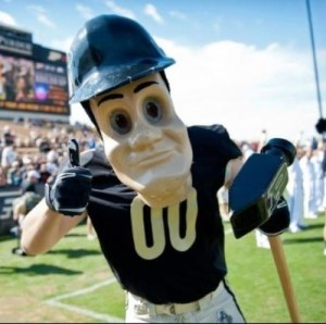 Look, Purdue, you have another mascot called the Boilermaker Special which is a cool looking old timey train people could ride in. Why do you need an expressionless hard-hatted guy with a hammer?
