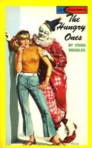 Seriously, the positioning might suggest it's a romance novel. Yet, the fact, that the leading man is a scary looking clown with his hand on the girl's shoulder hints that he may be some sort of psycho killer to me.