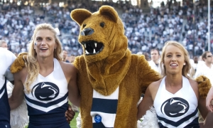 Now I know what a Nittany Lion is supposed to be and I think Penn State is perfectly fine with having a mountain lion mascot. However, whoever designed the Nittany Lion's costume thinks it resembles an emaciated bear for some reason. And let's say the footie-pajama getup doesn't seem to help.