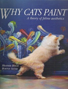 Wow, I didn't believe cats could paint on walls for artistic expression. Oh, yeah, I forgot they don't. The cat is probably just playing with the paints as any cat would do.