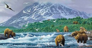 Alaska is renown for its gorgeous scenery and diverse wildlife now under threat by human activity and global warming. This painting depicts grizzly bears catching salmon from the river with the seagulls waiting for leftovers and a bald eagle soaring high.