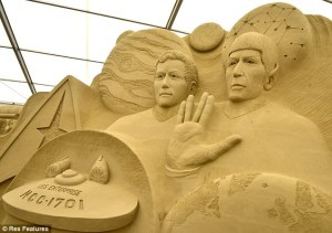 Still, this doesn't stop Spock from thinking that sand artwork is highly illogical. Of course, he thinks a lot of things are illogical.