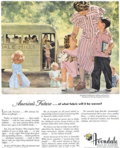 Now I don't know about you, but I know little kids don't ask questions about fabric or what not. Also, the little girl's pinafore is way too short and the boy's shirt is pink which will probably lead him to getting beat up at recess. Oh, and what the hell is the teacher wearing?