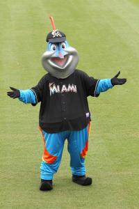 Now I'm not a big fan of fish mascots, yet this one seems like the Creature of the Black Lagoon's embarrassing long nosed cousin from Miami. Seriously, that does not resemble a marlin in any way.