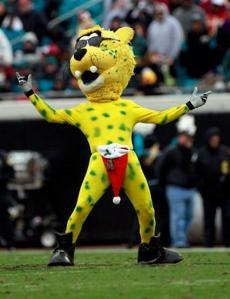 Now I see nothing wrong with having a big cat mascot for your sports team. Yet, a big cat mascot in a speedo and sunglasses, well, that's not right. Seriously, I don't find speedo as anything you'd want to wear in front of kids, even on jaguars.