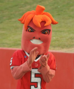 Now I understand that Lafayette, Louisiana is in Cajun country and I know a lot of Cajuns use Cayenne pepper for their cuisine. Sure it may have a face that may fend off a few competitors, too. But come on, he's a giant red pepper for God's sake. And who would be proud to have a giant pepper representing their school?