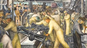 As seen in this mural section by Diego Rivera, Michigan is best known for being the headquarters of America's auto industry. Chrysler, GM, and Ford are all based in Detroit which by now is seen as an urban disaster. Yet, until the Rust Belt set in, it was a center of American Industry.