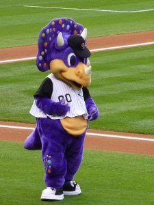 Now I have one good thing and one bad thing to say about this mascot. The good: despite being a cuddly perfect dinosaur, at least he ain't Barney. The Bad: he's still a cuddly purple dinosaur who belongs in Land Before Time, not Major League Baseball.