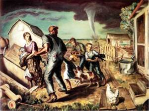 J. Steuart Curry's 1929 Tornado Over Kansas is basically a depiction of everything we tend to associate Kansas with. I mean Kansas farm families seeking shelter from a tornado during the Great Depression, we've heard that before. Of course, if this depicted the Dust Bowl, you probably would've thought of Oklahoma. Still, both states were both hit by the Dust Bowl as well as tend to get heavily hit during tornado season.