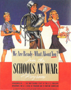 """Yes, I know this is a back to school season ad from World War II. Yet, you have to wonder whether """"Schools at War"""" should be an appropriate slogan. Of course, we know what's probably going to happen with the boy collecting metal things come his senior year if it's before 1945."""