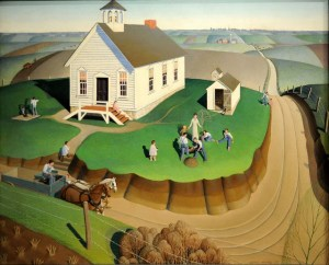 Iowa was home to the great Depression Era artist Grant Wood (1891-1942)  who is best known for his American Gothic painting which has become an iconic image of 20th century American Art. This is a painting of his called Arbor Day which is on its state quarter.