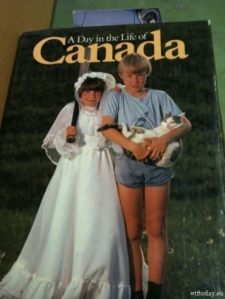 Actually I think what that girl is wearing is a First Holy Communion dress not a bridal gown or at least I hope so. Still, I wonder why is she holding a baseball bat instead of a hockey stick I can't be sure. And why are the boy's shorts so short? This is a terrible cover design.