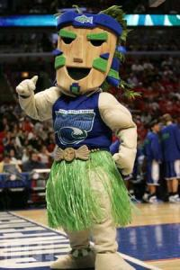 "Now I'd expect a Tiki mascot at a college in Hawaii. But a Tiki mascot in Texas? Besides, isn't the whole ""tiki torches, grass hula skirts, and wooden masks,"" thing is kind of offensive to Pacific Islanders. Seriously, not all Pacific Islanders are the bare boobed head hunters they're made out to be in the mass media."
