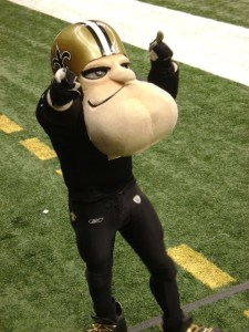 Now I know he's been mascot for the New Orleans Saints for years, but he's a walking and talking cartoon character. Also, he has an enormous chin, which is pretty terrifying if you ask me. Seriously, he seems he wants to beat up somebody after the game. Look at him.