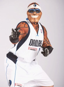Of course, the Thing never wanted his son Mavs Man to pursue a career in showbiz. Yet, because he didn't have super powers but inherited his father's skin, Mavs Man packed up and went to Dallas where he became a mascot to the Dallas Mavericks.